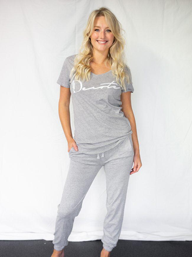 grey pajamas
