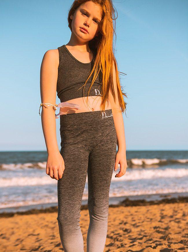 grey crop top and leggings